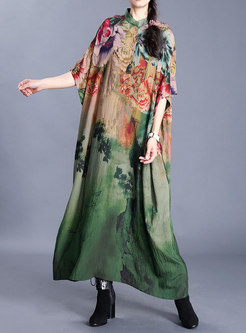 Retro Mock Neck Print Plus Size Maxi Dress