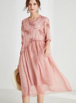 Chiffon Patchwork Embroidered Shift Dress
