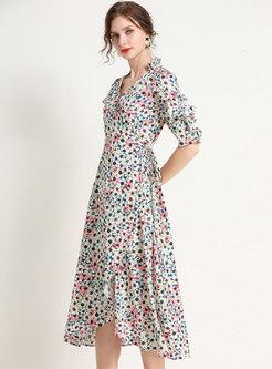 Floral Cross V-neck Asymmetric Ruffle Midi Dress