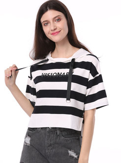 Striped Letter Print Hooded Cropped T-shirt