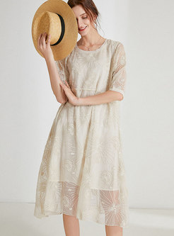 Plus Size Embroidered Chiffon Shift Dress