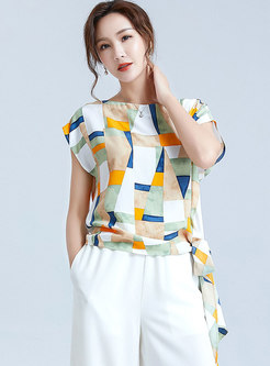 Short Sleeve Print Tied Chiffon Top
