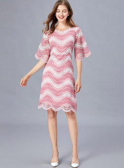 Lace Flare Sleeve Color Block Skater Dress