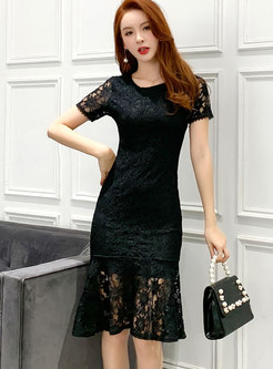 Sexy Lace Openwork Peplum Dress