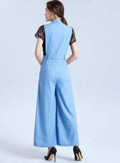 Lace Patchwork Denim Stand Collar Jumpsuit