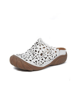 Rounded Toe Openwork Flat Leather Slippers
