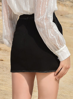 Black Top Stitched Sheath Mini Skirt