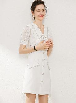 Elegant Patchwork Drilling Lapel Mini Dress