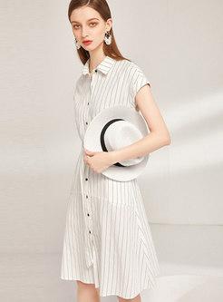 Striped Lapel Belted Slim Shirt Dress