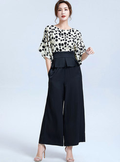 Bat Sleeve Patchwork Slim Pant Suits