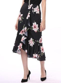 Chiffon Print Asymmetric Ruffle Peplum Skirt