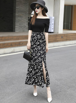 Floral Slit High Waisted Peplum Skirt