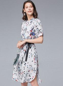 Mock Neck Floral Belted Slit Skater Dress