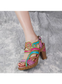 Chunky Heel Color Block Leather Sandals