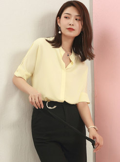 Stand Collar Short Sleeve Buttoned Blouse