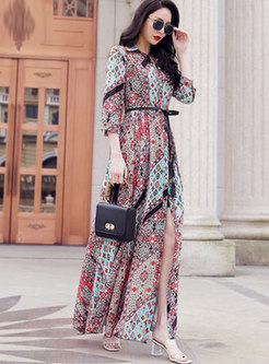 Lapel Floral Tied Beach Maxi Dress