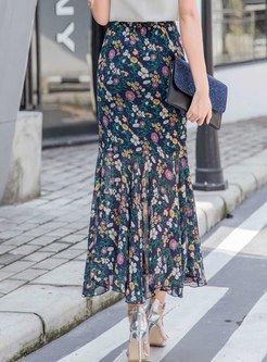 Floral High Waisted Peplum Skirt