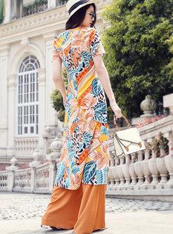 Chiffon Print Asymmetric Palazzo Pant Suits
