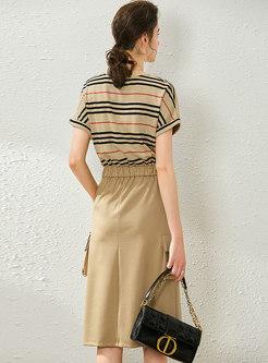 Striped Patchwork Elastic Waist Bodycon Dress