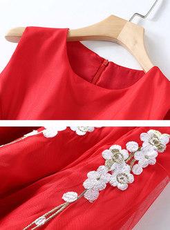 Mesh Patchwork Embroidered Sleeveless Skater Dress