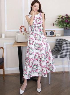 Print Empire Waist Big Hem Maxi Dress