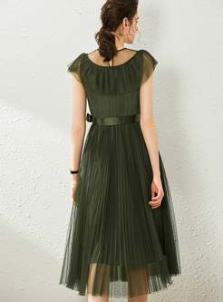Mesh Perspective Tied Pleated Skater Dress