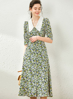 Floral Lapel Half Sleeve Midi Dress