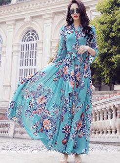 Chiffon Print Big Hem Beach Maxi Dress