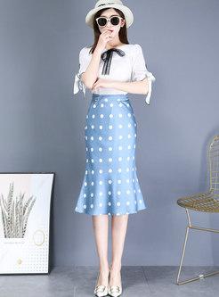 Polka Dot High Waisted Peplum Skirt