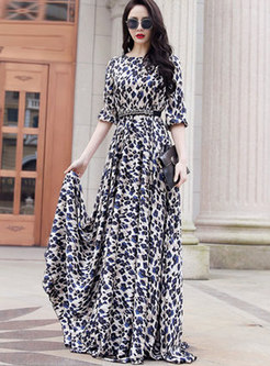 Print Gathered Waist Big Hem Maxi Dress