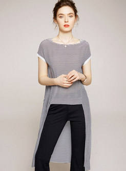 Striped Crew Neck Asymmetric Silk T-shirt