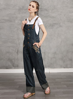 Vintage Denim Embroidered Casual Overalls