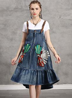 Embroidered Denim Asymmetric Slip Dress