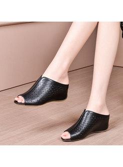 Peep Toe Openwork Wedge Slippers