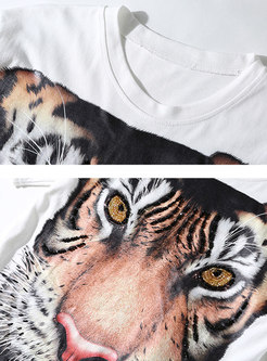 Crew Neck Tiger Pattern Casual T-shirt
