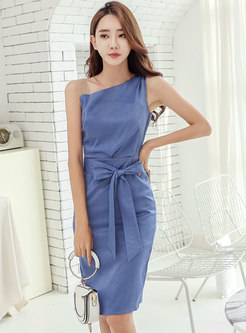 Slash Neck Bowknot Sleeveless Bodycon Dress