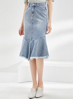 Denim Rough Selvedge Peplum Skirt