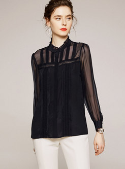 Stand Collar Perspective Silk Blouse