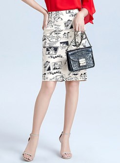 Cartoon Pattern High Waisted Pencil Skirt
