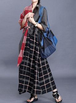 Plaid Patchwork Tied V-neck Loose Maxi Dress