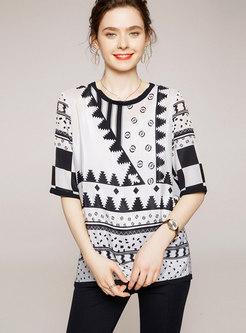 Geometric Print Half Sleeve Silk T-shirt