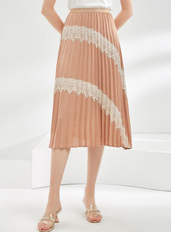 Lace Patchwork High Waisted Pleated Skirt