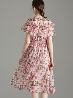 Open Shoulder Floral Elastic Waist Skater Dress
