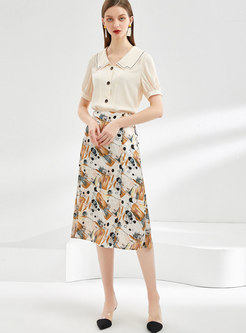 Elegant Print High Waisted A-line Skirt