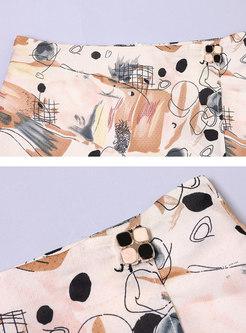 Elegant Print High Waisted A-line Skirt