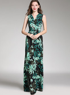Chiffon Print Sleeveless V-neck Jumpsuit