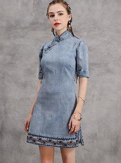 Vintage Denim Embroidered Mini A-line Dress
