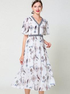 V-neck Print High Waisted Midi Dress
