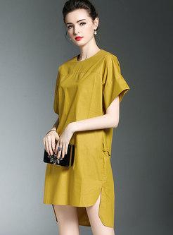 Solid Color Side-slit Asymmetric Mini Dress