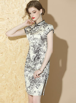 Ink Print Stand Collar Side-slit Cheongsam